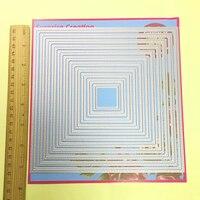 11 шт. большой резки умирает пирсинг квадратный 18,5x18,5 см Скрапбукинг оформление открыток DIY ремесло металлический трафарет