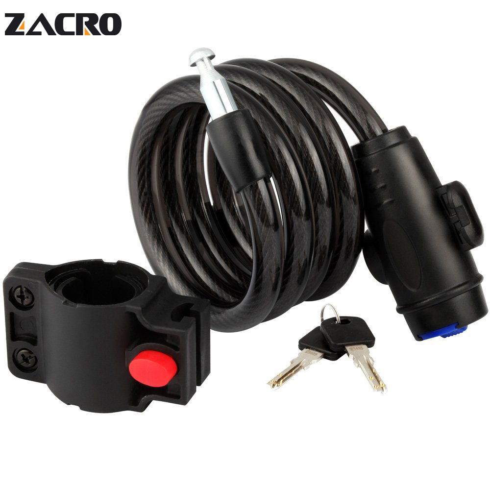 Zacro Bicycle Lock Black Road Bike Lock Anti-theft Coiling Cable Lock Security Lock Steel For Mountain MTB Bike Motorcycle 1.2m 1m spiral cable mountain bicycle bike security safety anti theft security lock 2 key cycle chain black