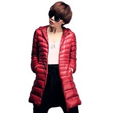 Plus size 6XL 90% White Duck Down Coat Women Ultra Light Down Jacket 2016 Winter Hooded Thin Long Parkas Woman miegofce YT77-1