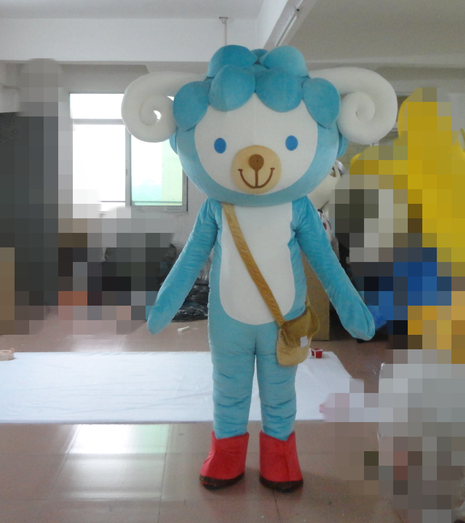 good quality sky blue sheep mascot costume for adults sheep mascot costume