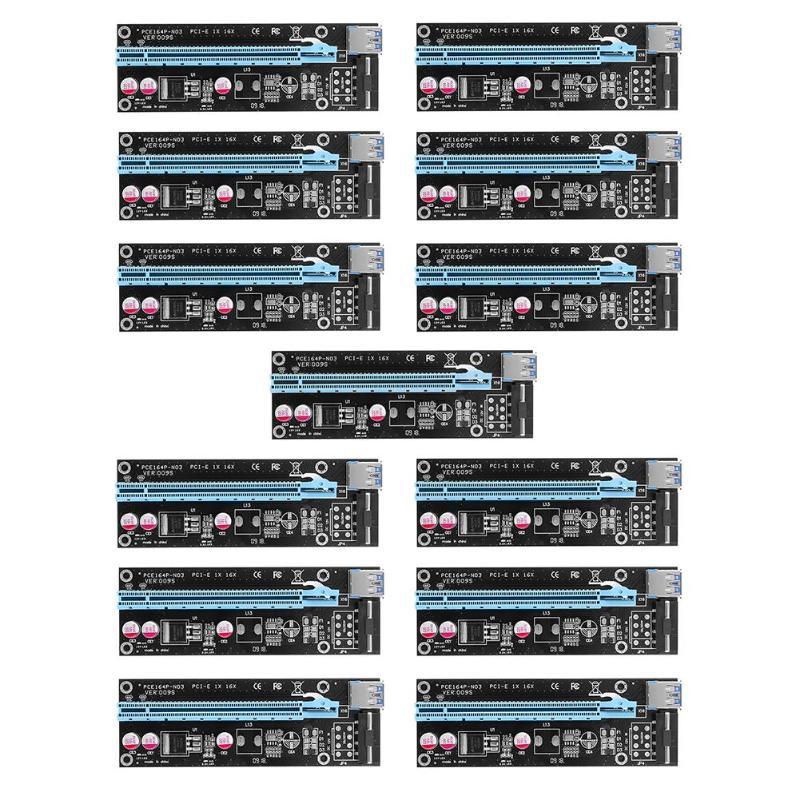 6 pièces USB 3.0 PCI-E GPU 1X à 16X PCI Express Extender Riser Raiser carte adaptateur avec cordon SATA 15Pin pour Dogecoin BTC LTC Miner