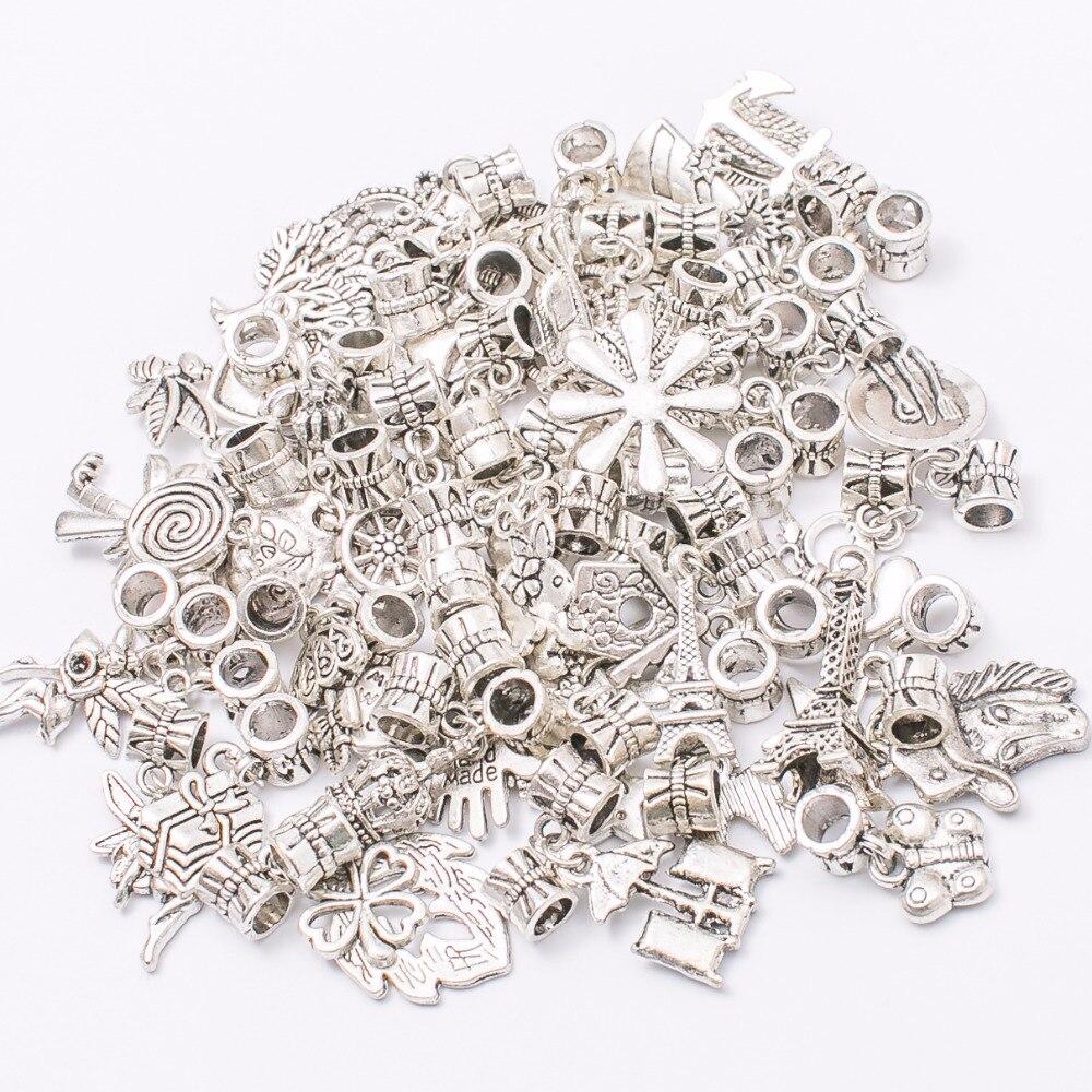 Mix 50 шт./50 различных Шарм тибетское серебро бисера очарование большая дыра кулон Fit Пандора браслет DIY подвеска JS669 ...
