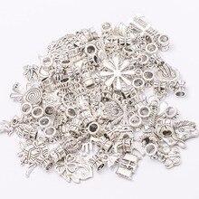 Mix 50pcs/50 different  charm Tibetan silver Bead Charm big hole pendant fit Pandora charm bracelet DIY pendant JS669