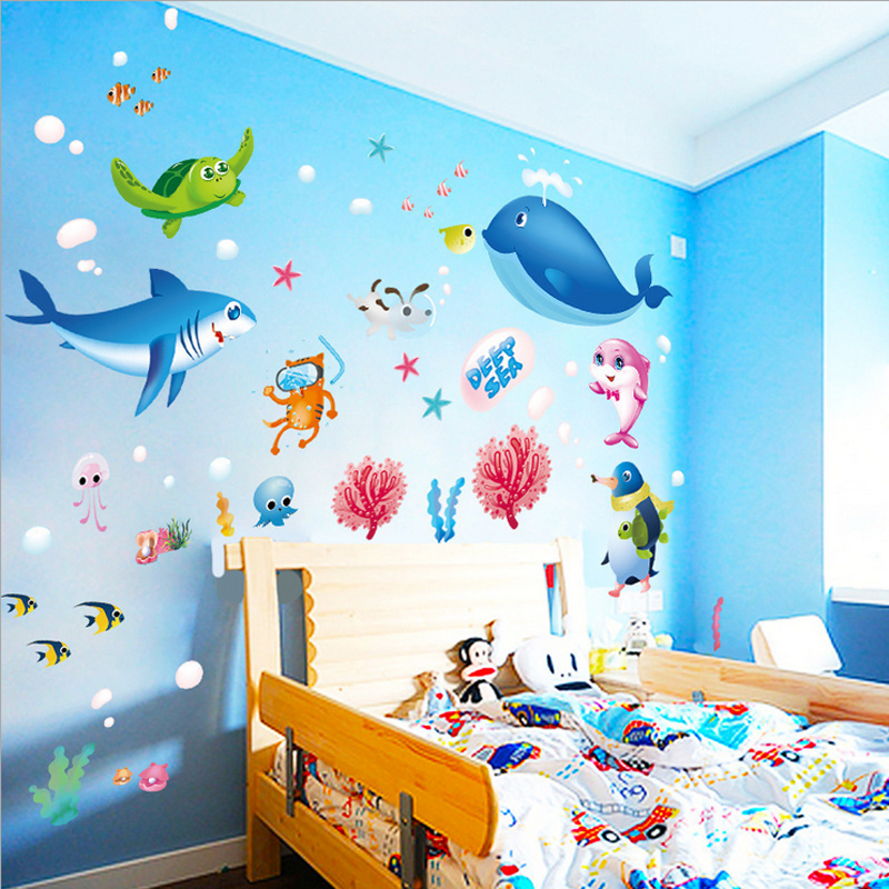 2017 Hot Sale Cartoon Fish Wall Sticker Deep Sea Turtle Shark Kids Rooms Decor Stickers Diy Bathroom Adesivos De Parede Sd164