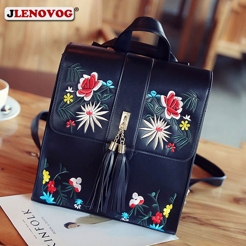 Ladies Square Backpack Faux Leather White Floral Embroidered School Bag For Adolescent Girls College Student PU Shoulder Satchel