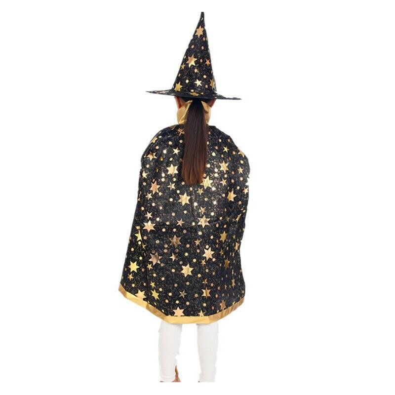 Boy Girl Kids Children Christmas Costumes Witch Wizard Cloak Cosplay with Hat Cap Stars New Year Halloween Fancy dress