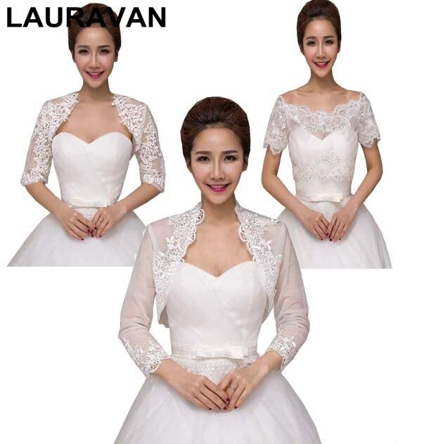 Autumn Summer Lace Bride Wedding Bolero Elegant Bridal Opera Evening Party Prom Costume Capes Ivory Color Jackets Women Wrap