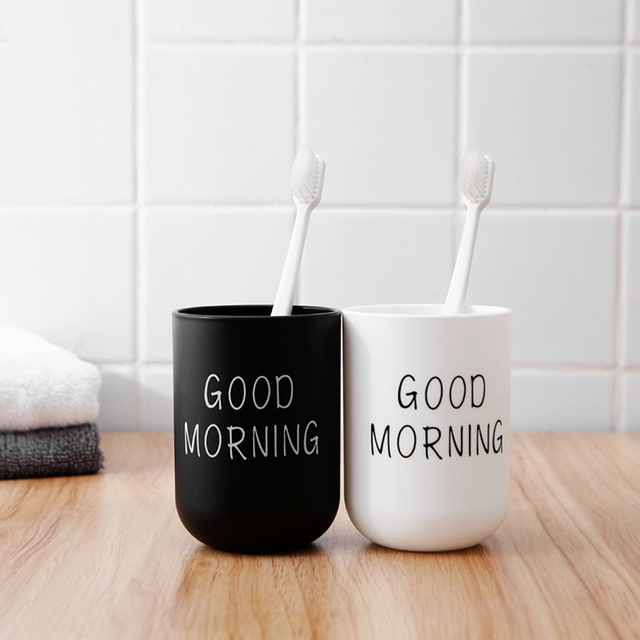 1Pc 330ml Nordic Travel Good Morning Cup Eco-friendly PP Material Water Cups Toothbrush Holder Washing Tooth Mug Bathroom Sets