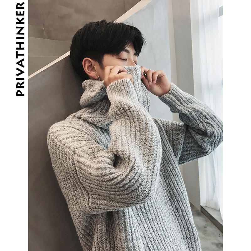 Populair Privathinker Oversized Turtleneck Sweater Women Men 2018 Casual &FU25