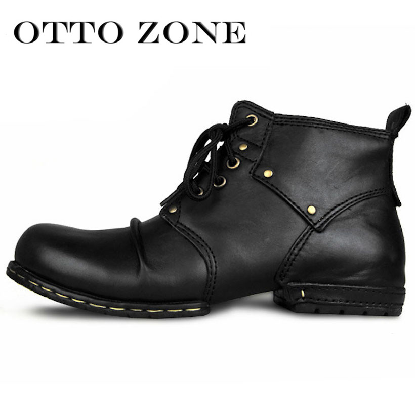 83ae64ae52f4 OTTO Top Quality Handmade High Martin Boots Rivet Spring Boots With Fur  Genuine Cow Leather Men s Fashion Shoes Free Shipping-in Motorcycle boots  from Shoes ...