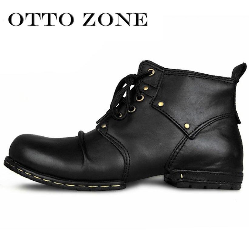 OTTO أعلى جودة اليدوية عالية الأحذية الأحذية برشام الربيع الأحذية مع الفراء حقيقية جلد البقر الرجال أحذية أنيقة شحن مجاني-في أحذية للدراجات النارية من أحذية على  مجموعة 3