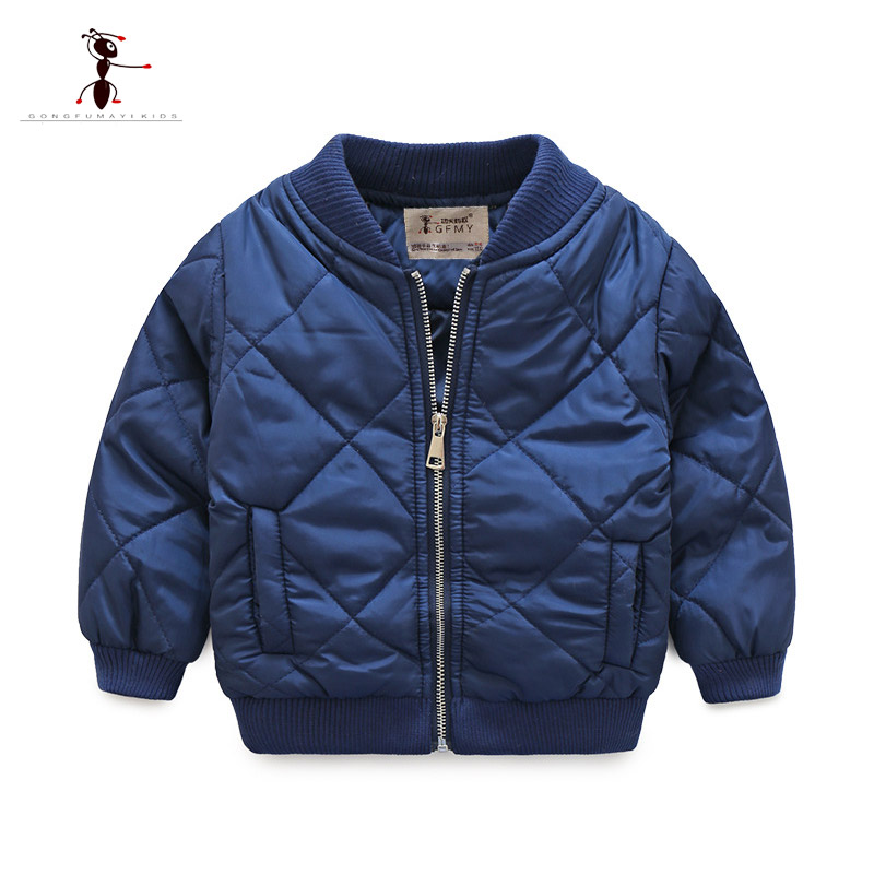 Kung Fu Ant Winter Boys Coat Cool Style Kids clothes Navy Orange Color Army Jacket Children's Coat Street Home Short Tops 3229