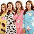 Venda quente, temporada idade mulheres manga longa pijama muitos dos desenhos animados kt gato leite pijamas de seda leisurewear terno calças