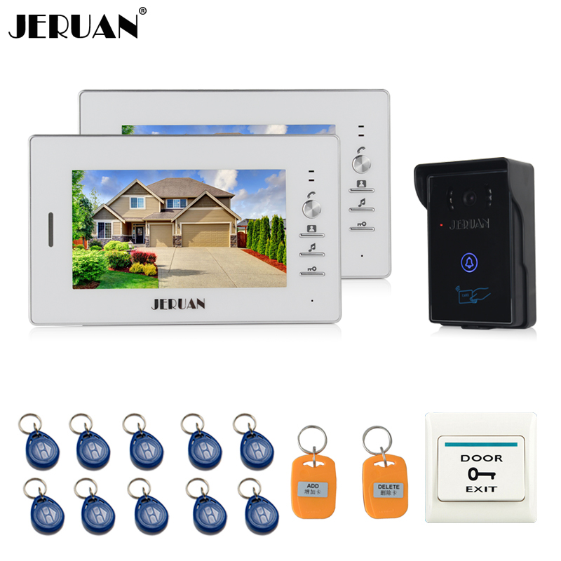 JERUAN 7`` LCD Screen Video Intercom Video Door Phone System 2 monitors + 700TVL RFID Access Waterproof Touch key Camera + 10 ID jeruan home wired 7 lcd video door phone intercom system 700tvl rfid waterproof touch key password keypad camera free shipping