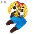 Ropa de los muchachos de Invierno Otoño Pantalones de dos piezas de Algodón Que Arropan la Historieta de Manga Larga con capucha casual Tamaño de 2,3, 4,5, de 6,7 años