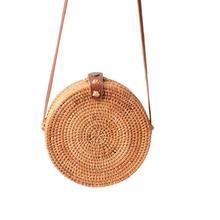 Bohemian Manual Rattan Woven Handmade Round Cutout Beach Bag Retro Circular Straw Braided Household Storage Organizer