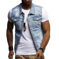 Denim Jacket Men Vest Hole design Outerwear Streetwear Jacket Coat Mens Coats Male Vest Sleeveless Blue Black White