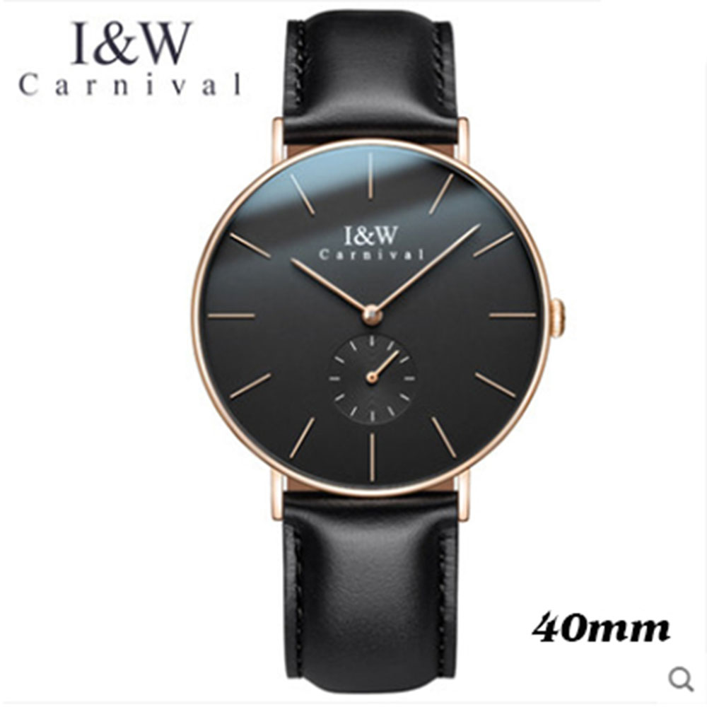 Fashion Carnival Brand Ultra-Thin 6mm Quartz Watch Men Simple Design Casual Business Import Movement Genuine Leather Male Clock ultra thin watch male student korean version of the simple fashion trend fashion watch waterproof leather watch men s watch quar