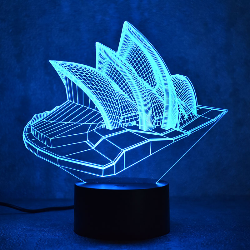 Novelty 3D LED Table Lamp Visual Sydney Colorful Light Fixture USB - Night Lights - Photo 6