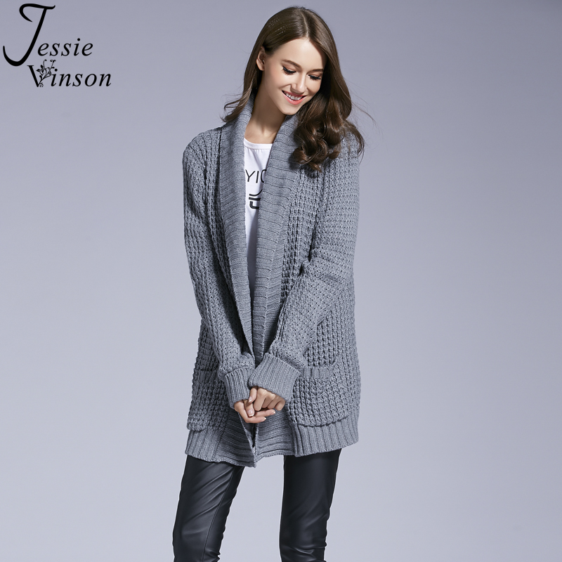 Jessie Vinson Women Fashion Loose Solid Long Sleeve Pocket Sweater Cardigan Knitted Coat Autumn Winter Outwear Cover up