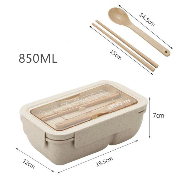 850ml Wheat Straw Lunch Box Healthy Material Bento Boxes Microwave Dinnerware Food Storage Container Lunchbox 6
