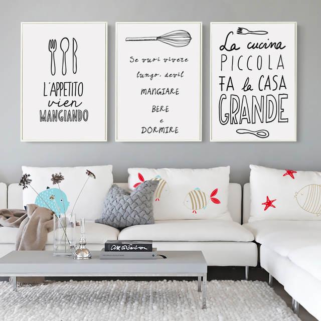 R2044 33 De Descontonórdico Abstrato Preto E Branco Utensílios De Cozinha Alimentos Frases Pintura Em Tela Arte Impressão A4 Poster Imagens Para