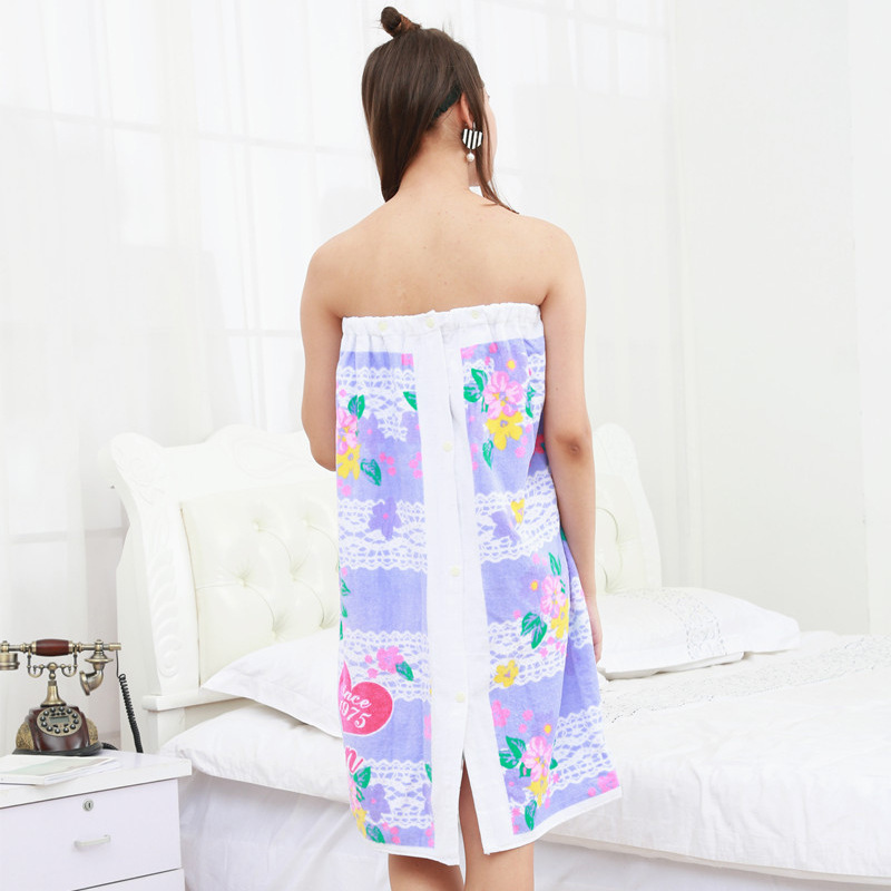 Wholesale cotton towel cloth bathrobe towel wear active printing soft water absorption of adult men and women wrapped chest bath