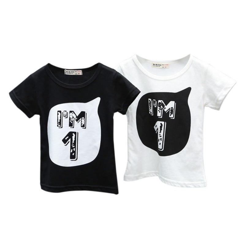 Baby Boys Girls Fashion T shirt Children Letter Print Printed Cotton T-shirts Cool Kids Boy's Shirts 0-6Y Summer