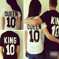 Camisetas Король Королева 10 Печатных Футболки Женщины Мужчины Пара Любовника Плюс размер Панк-Рок Лето Топы Мужская Рок Прохладный Ретро Моды Tee