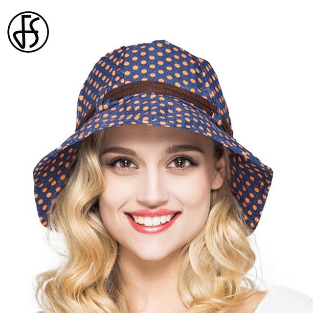 1c41f3831 US $19.6 30% OFF FS Summer foldable Cotton Sun Hats For Women Wide Brim  floppy Bucket Hat Elegant Fashion Dots Sunhat For Girls Beach Visors-in Sun  ...