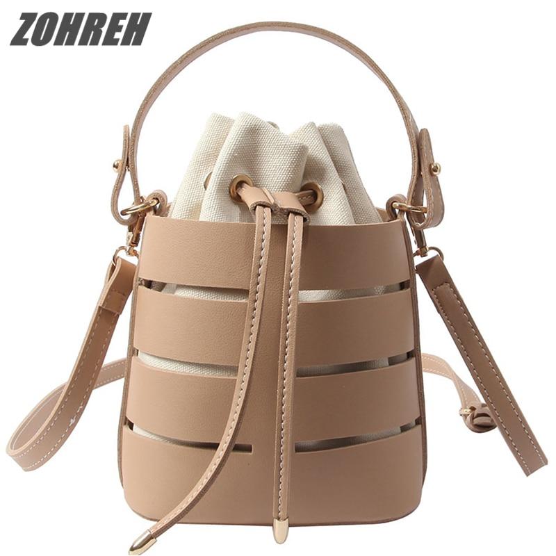 ZOHREH Chic Fashion Bucket Bag For Women 2018 New Summer Beach Bag PU Leather Shoulder Bag Set Drawstring Messenger Bag Beige weave drawstring bucket bag