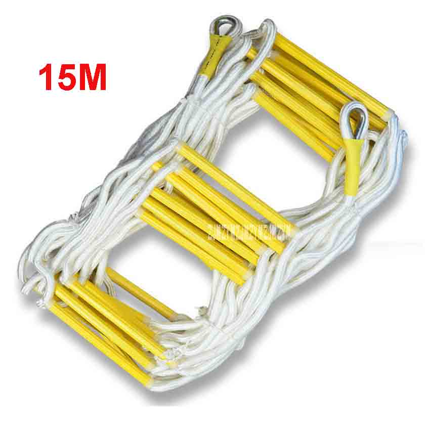 15M Rescue Rope Ladder 3-4th Floor Escape Ladder Emergency Work Safety Response Fire Rescue Rock Climbing Anti-skid Soft Ladder fire blanket emergency survival fire shelter safety protector white 100 x 100cm
