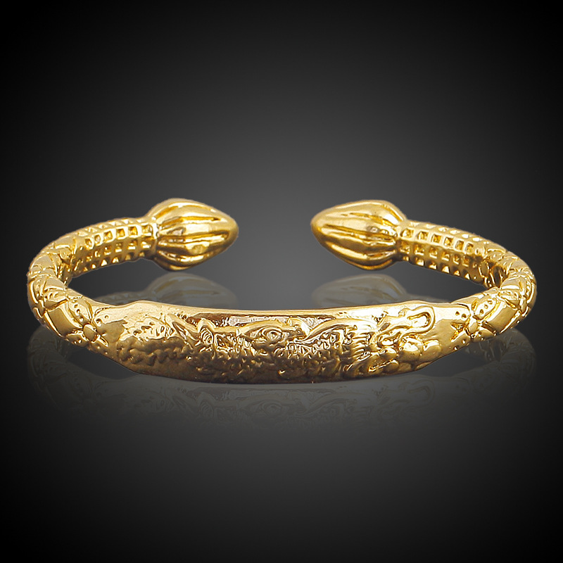 Octbyna Dragon Line 100% Copper Brass Cuff Ethnic Bangle Bracelet Dragon Ladys Bracelet Jewelry