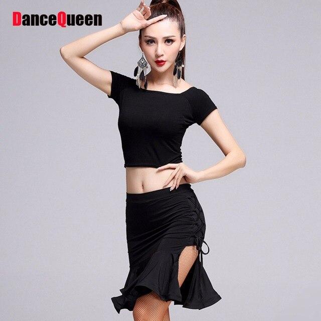 43e56d836 2017 Hottest Latin Dance Costumes 3Pcs(Tops Skirts Shorts) Black ...