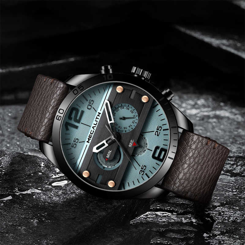 MEGALITH 2019 Men Watches Military Gift Sport Male Waterproof Blue Leather Strap Quartz Wrist Watches Male Clock Reloj Hombre