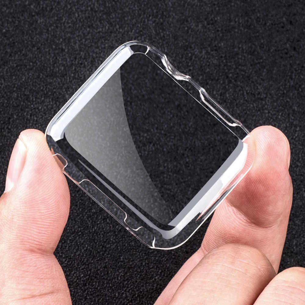 Besegad Transparan Pelindung Guard Film Case Cover Shell Bumper untuk Apple Watch Saya Jam Tangan Seri 1 2 3 38 Mm 42 MM Aksesoris