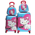 "Girl Hello Kitty Luggage Sets&Women Cartoon Travel Suitcase Universal Wheels Trolley Luggage Bag 20"" 24"" Rolling Luggage"
