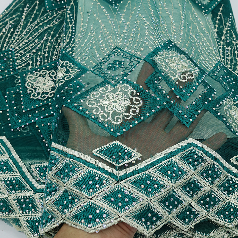 Latest African Tulle Lace 2019 French Net Stones Lace Fabric For Wedding green Golden thread Embroidery African Lace Fabric in Lace from Home Garden