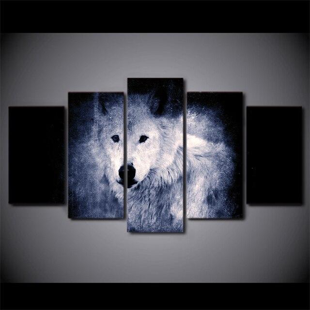 5 panel enmarcado HD impreso blanco Lobo oscuro gran cartel lienzo ...