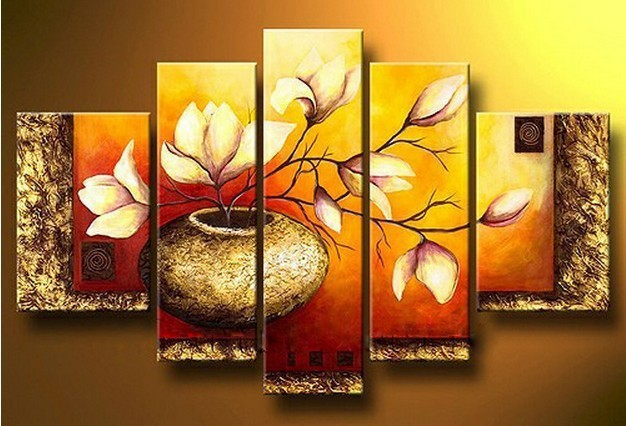 MODERN ABSTRACT HUGE WALL ART OIL PAINTING ON CANVAS 5pc gold base ...