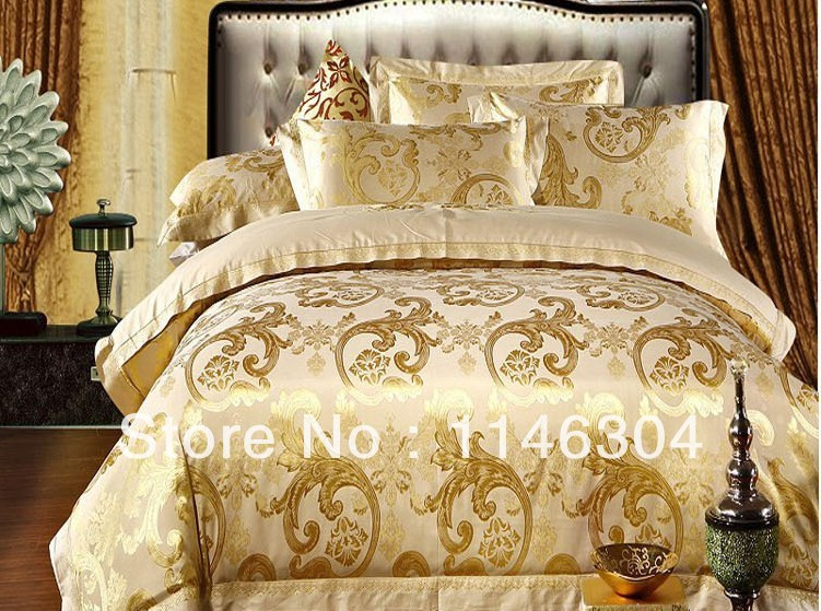 4pcs gold soft embroidered floral comforter set bed in a bag queen kingin bedding sets from home u0026 garden on alibaba group