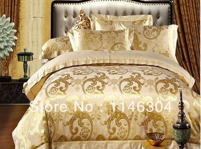 4pcs Gold Soft Embroidered Fl Comforter Set Bed In A Bag Queen King