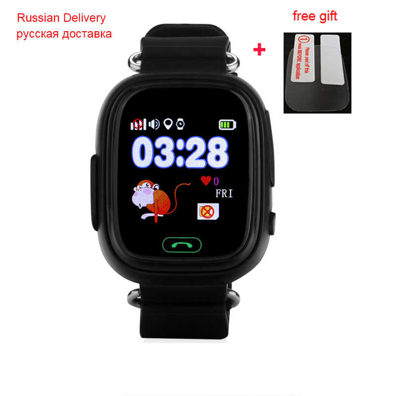 Kapal dari Rusia Q90 GPS Phone Positioning Fashion Watch 1.22 Inci Warna Layar Sentuh WiFi SOS Smart Watch PK q50 Q100