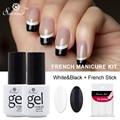 Saviland 2pcs Black White French Manicure Set Gel Nail Polish 7ml Long Lasting Soak Off UV Gel French Nail Gel Varnish