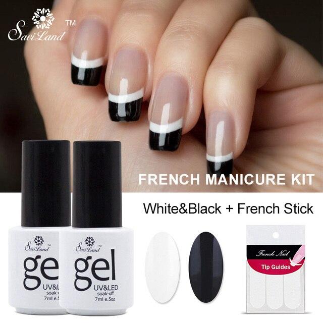 Saviland 2pcs Black White French Manicure Set Gel Nail Polish 7ml Long Lasting Soak Off Uv
