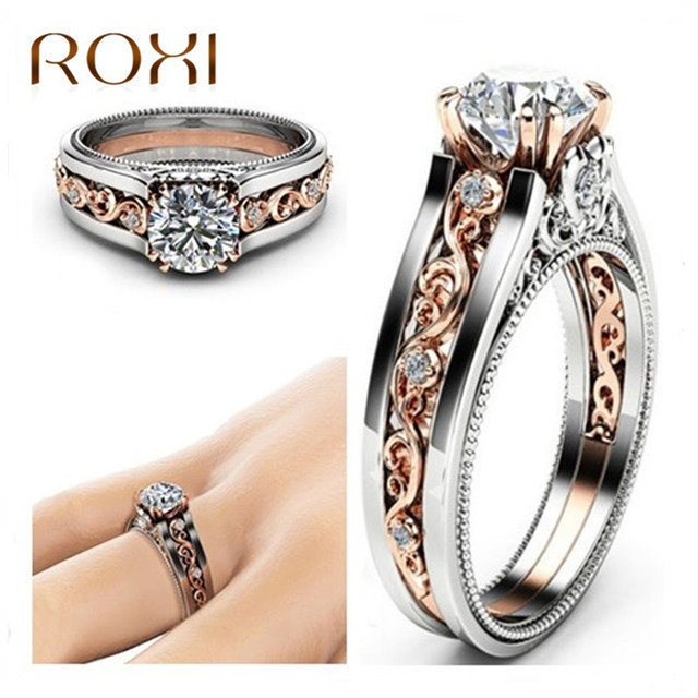 ROXI Vintage Rose Gold /Silver Color Ring CZ Flower Rings For Woman Gifts Weddin
