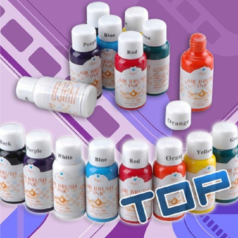 Cores De Tinta Para Aerógrafo 8 Nail Art Pigmento de Cor Básica define Acessórios Pigmentos para Stencils Prego escova De Ar Pintura