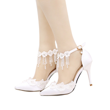цены Women's Pointed Toe High Heels Stilettos High-heeled Wedding Shoe White Lace Flowers Bridal Shoes Diamond Dress Sandals 9cm