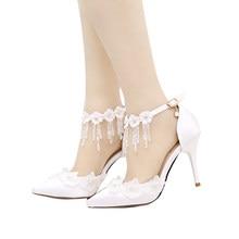 Femmes de Bout Pointu Talons hauts Talons Aiguilles à talons hauts  Chaussures De Mariage Blanc Dentelle Fleurs Chaussures De Mar. 6eb77fc33f1b