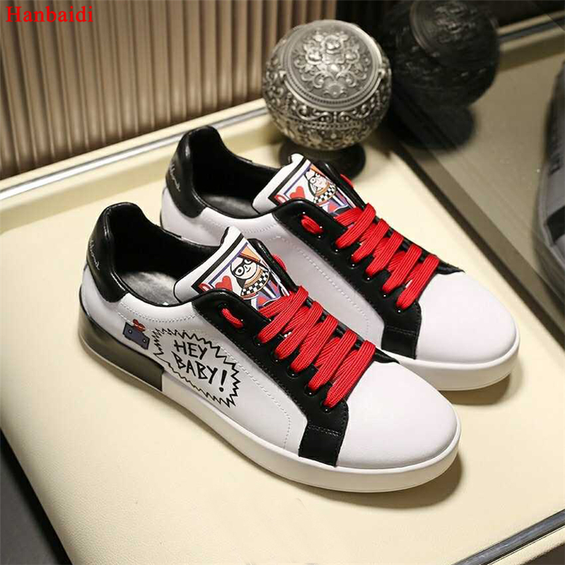 Hanbaidi 2018 Luxury Brand Mens Sneakers Runway Cute Graffiti Low Top Lace UP Round Toe Casual Shoes Leather Shoes zapatos mujer 2016 hot low top wrinkled skin cockles trainers kanye west chaussure flats lace up mens shoes zapatos mujer casual shoes